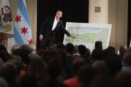 Former President Barack Obama showed plans for the Obama Presidential Center, which is to be built in Jackson Park on Chicago's South Side. (Scott Olson/Getty Images)
