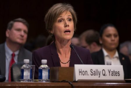 Sally Q. Yates testified on Monday at a Senate Judiciary subcommittee hearing on Russian interference in last year's election. (Credit: Stephen Crowley/The New York Times)