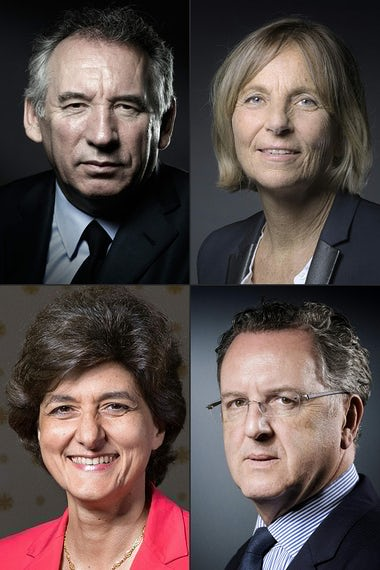 Clockwise from top left: François Bayrou, Marielle de Sarnez, Richard Ferrand and Sylvie Goulard. Photograph: Joel Saget/AFP/Getty