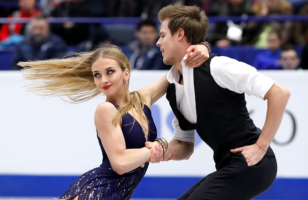 Victoria Sinitsina and Nikita Katsalapov of Russia perform their Short Dance at the 2017 European Figure Skating Championships.