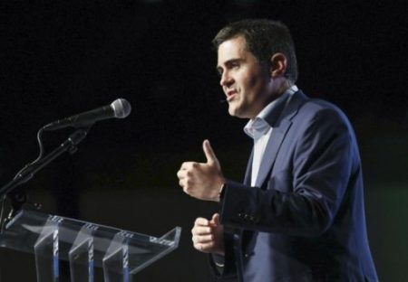 (PHOTO: MATT JONES) Russell Moore addresses the delegates at the Southern Baptist Convention's Annual Meeting in Phoenix, Wednesday, June 14, 2017.