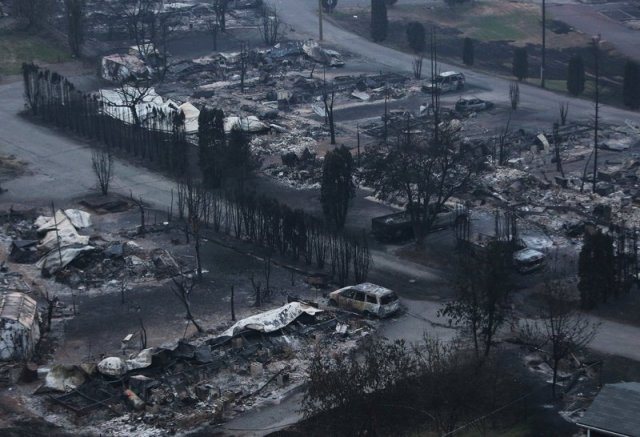 The Boston Flats trailer park was destroyed by a wildfire in Boston Flats, British Columbia, Canada on Monday. Ben Nelms/Reuters