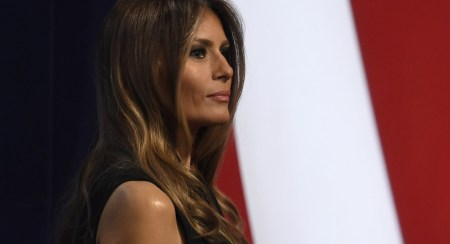 Melania Trump walks off the stage after the final presidential debate at the Thomas & Mack Center on the campus of the University of Las Vegas in Las Vegas, Nevada on October 19, 2016. (Photo credit: ROBYN BECK/AFP/Getty Images)