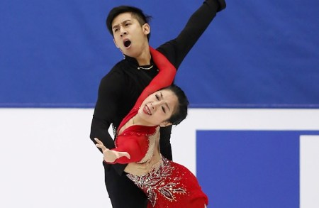 China's Wenjing Su and Cong Han earned a new personal best for their long program at 2017 Cup of China.  © Robin Ritoss