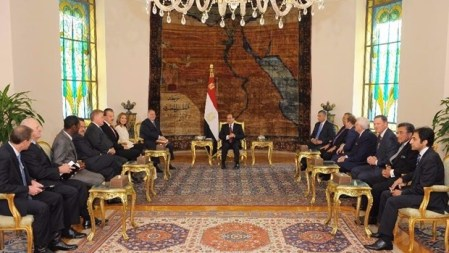 Image: A. Larry Ross US evangelicals meet with Egypt's president.