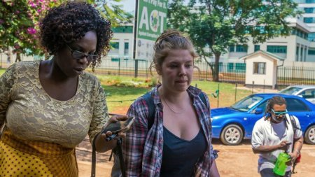 Martha O'Donovan, who was arrested over alleged subversive tweets about Zimbabwean President Robert Mugabe on Twitter, arrives at Harare Magistrate's Court in Harare, Zimbabwe, on Nov. 4. Jekesai Njikizana/AFP/Getty Images