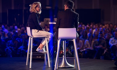 """Sally Lloyd-Jones, author of """"The Jesus Storybook Bible,"""" answers questions on parenting from Russell Moore, president of the Ethics & Religious Liberty Commission, during the Southern Baptist entity's national conference in August. Photo by Kelly Hunter"""