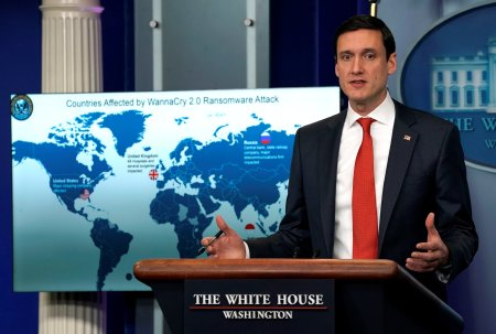 Tom Bossert, homeland security adviser to President Donald Trump, holds a press briefing to publicly blame North Korea for unleashing the so-called WannaCry cyber attack at the White House in Washington, U.S., December 19, 2017. REUTERS/Kevin Lamarque
