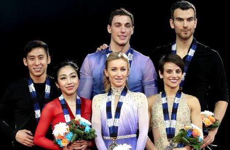 From Left to Right: Wenjing Sui and Cong Han (CHN), Aljona Savchenko and Bruno Massot (GER), Meagan Duhamel and Eric Radford (CAN)  Photo © Robin Ritoss