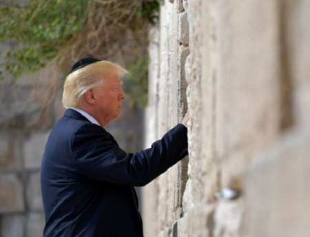 Trump visits the Western Wall in Jerusalem's Old City on May 22, 2017. (MANDEL NGAN/AFP)