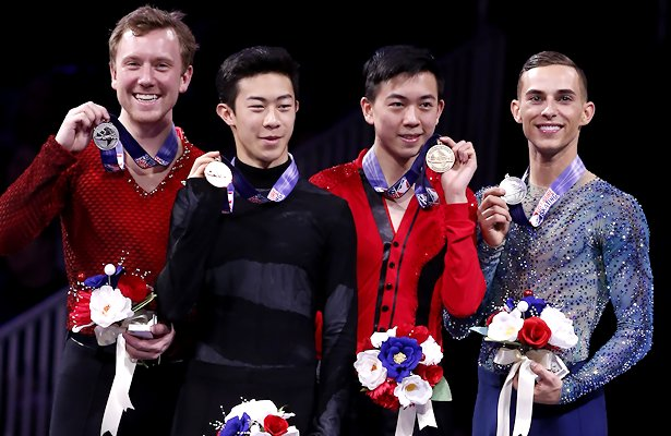 2018 U.S. National Men's Podium (From L to R) Ross Miner, Nathan Chen, Vincent Zhou, and Adam Rippon