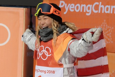 PYEONGCHANG-GUN, SOUTH KOREA - FEBRUARY 13: Gold medalist Chloe Kim of the United States celebrates winning the Snowboard Ladies' Halfpipe Final on day four of the PyeongChang 2018 Winter Olympic Games at Phoenix Snow Park on February 13, 2018 in Pyeongchang-gun, South Korea. (Photo by David Ramos/Getty Images)