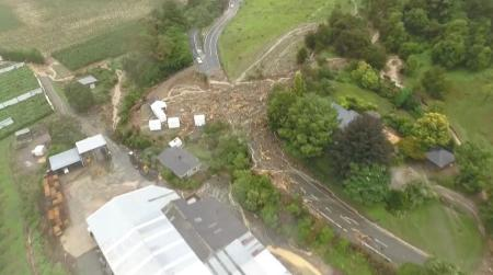 The Takaka Hill is pictured after the storm Gita hit New Zealand, in this still image taken from a drone footage from February 20, 2018 obtained from social media. James Thomas via REUTERS