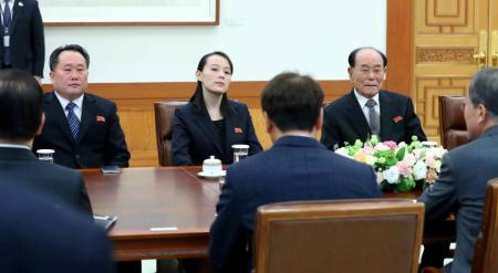 South Korean President Moon Jae-in talks with President of the Presidium of the Supreme People's Assembly of North Korea Kim Young Nam and Kim Yo Jong, the sister of North Korea's leader Kim Jong Un, during their meeting at the Presidential Blue House in Seoul, South Korea, February 10, 2018. Yonhap via REUTERS