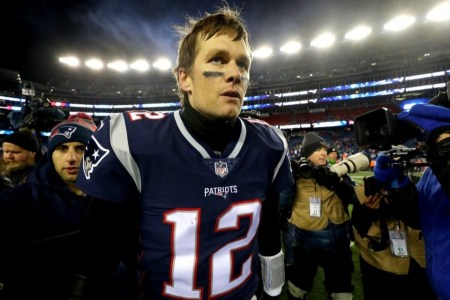 New England Patriots quarterback Tom Brady after the AFC Divisional Playoff game against the Tennessee Titans at Gillette Stadium in Foxborough, Mass, on Jan. 13. (Maddie Meyer/Getty Images)