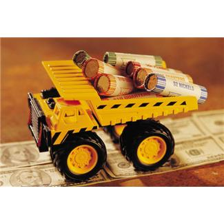 Dump truck carrying coins