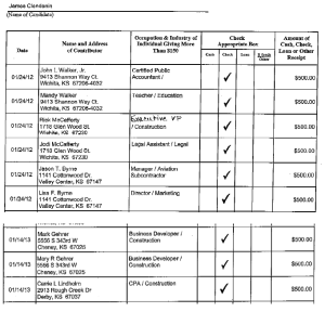 Campaign contributions received by James Clendinin from parties associated with Key Construction. Clendenin will vote tomorrow whether to grant sales tax forgiveness worth $703,017 to some of these donors.