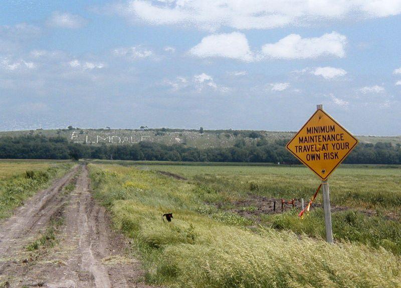 Stone sign near Elmdale, Kansas, in the FLint Hills.