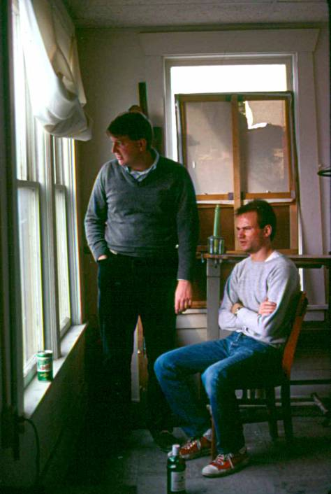 Bob Weeks and Bill Goffrier in the artist's studio, Flatiron Building, Wichita, 1982