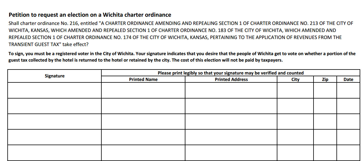 Wichita has examples of initiative and referendum - petition examples