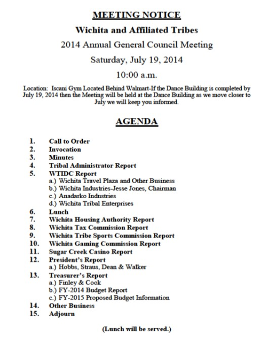 Annual General Council Meeting Agenda for July 19, 2014