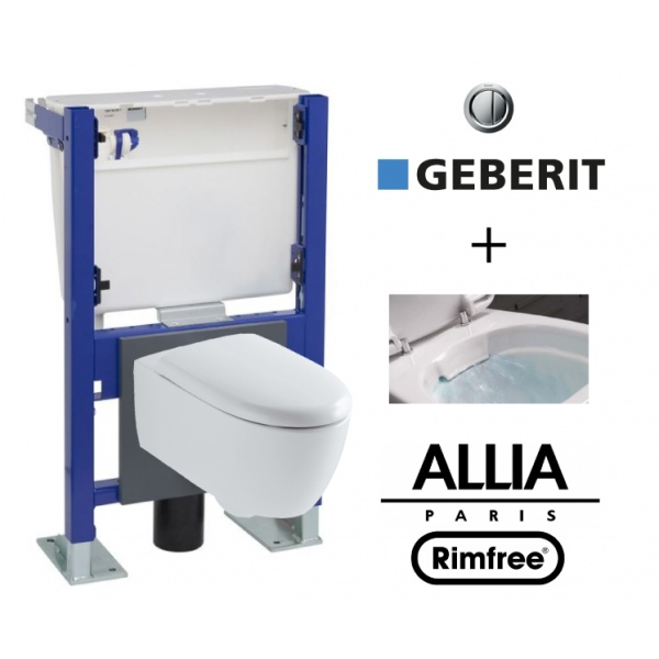 Pack Wc Suspendu Compact Geberit Wall Frame And Allia Lovely Rimfree Compact Wc Bowl