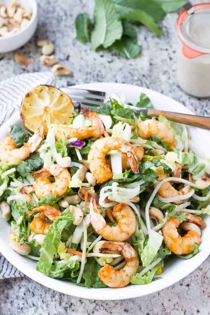 Paleo Grilled Shrimp and Rice Noodle Salad