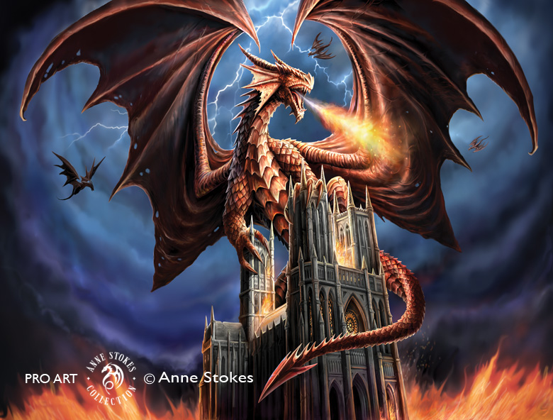 Removable Wallpaper Murals Anne Stokes - Dragon Fury - Dgfasw001