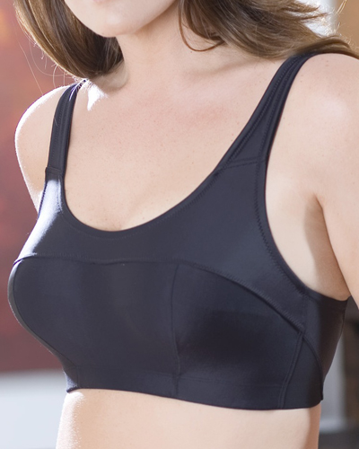Elila 1620 Silver and Microfiber Sports Bra. Image from Elila.com.