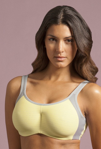 Lunaire Seamless Sports Bra in citroen/gray. Image from Lunaire.