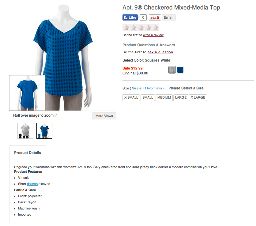 Kohl's Apt. 9 Checked Mixed Media top. Screenshot from Kohls.com.