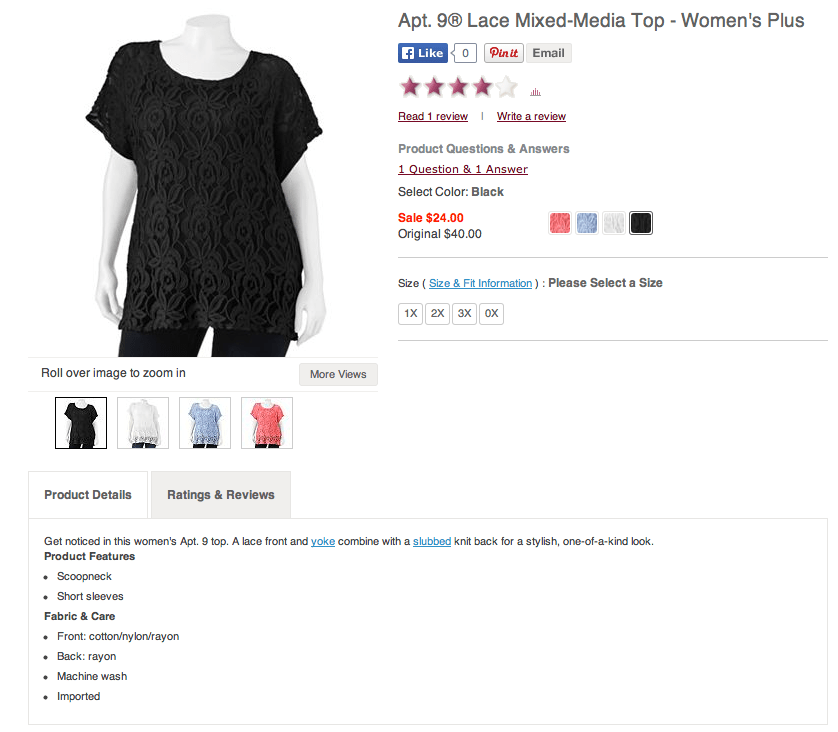 Kohl's Apt. 9 Lace Mixed Media Top - Plus. Screenshot from Kohls.com.