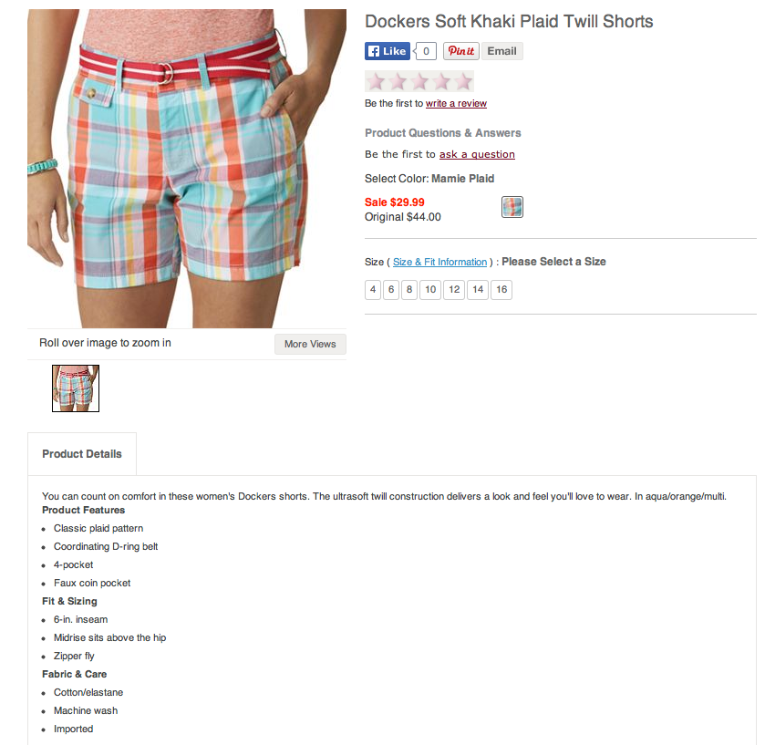 Dockers Soft Plaid Mamie Twill Shorts. Screenshot from Kohls.com.