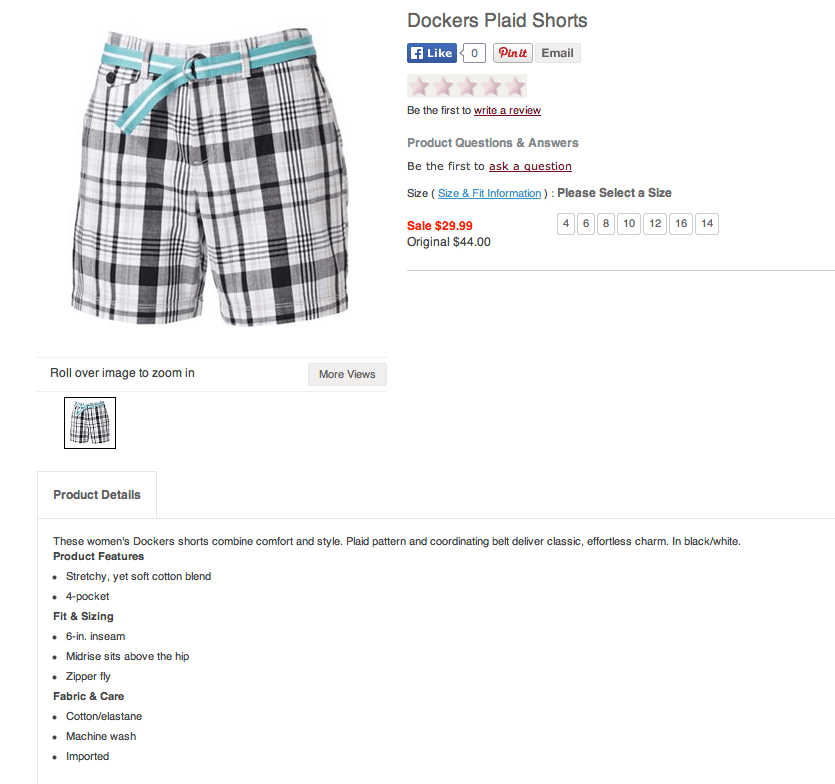Dockers Soft Plaid Twill Shorts. Screenshot from Kohls.com.