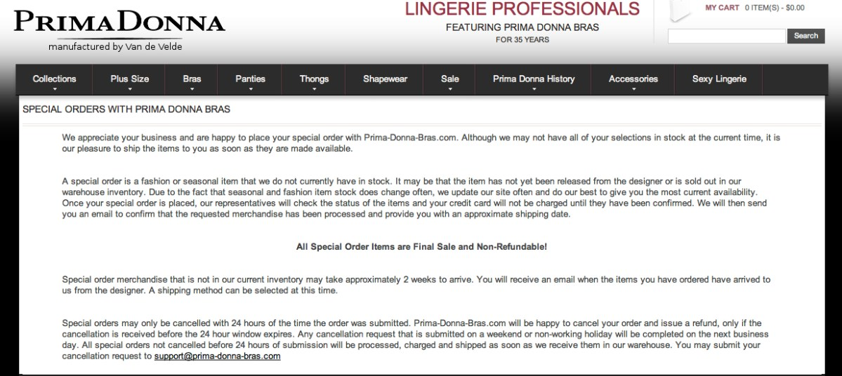 Prima Donna Bras U.S. Special Order Policy. Screenshot from prima-donna-bras.com.
