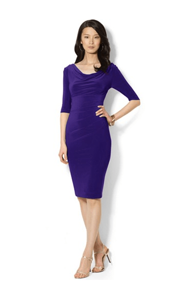 WideCurves Review: Lauren Ralph Lauren Three-Quarter Sleeve Cowl Neck Sheath. Mine is a size 18. Image from Macys.com.