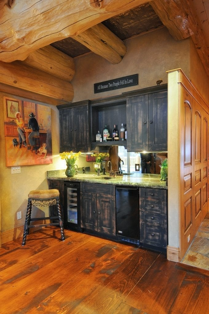 Dark Walnut Distressed Kitchen Cabinet Images 4 Popular Cabinet & Wood Flooring Combinations For Your