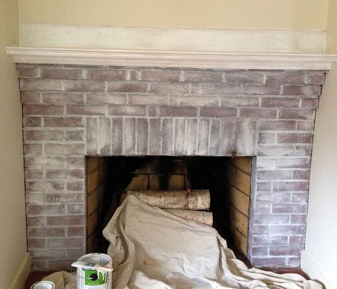 White Washed Fireplace Wife In Progress