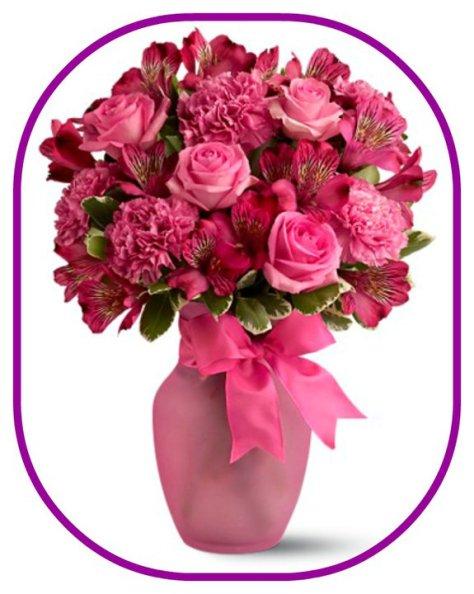 pink vase of flowers
