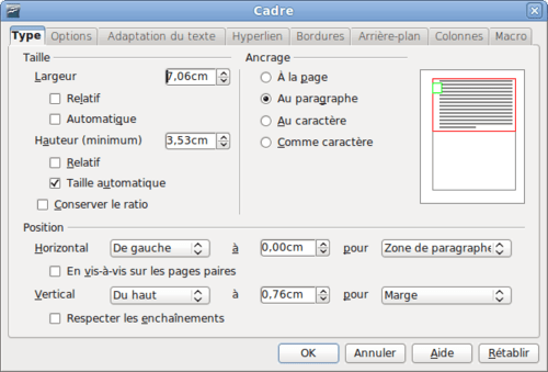 faire son cv sur libre office