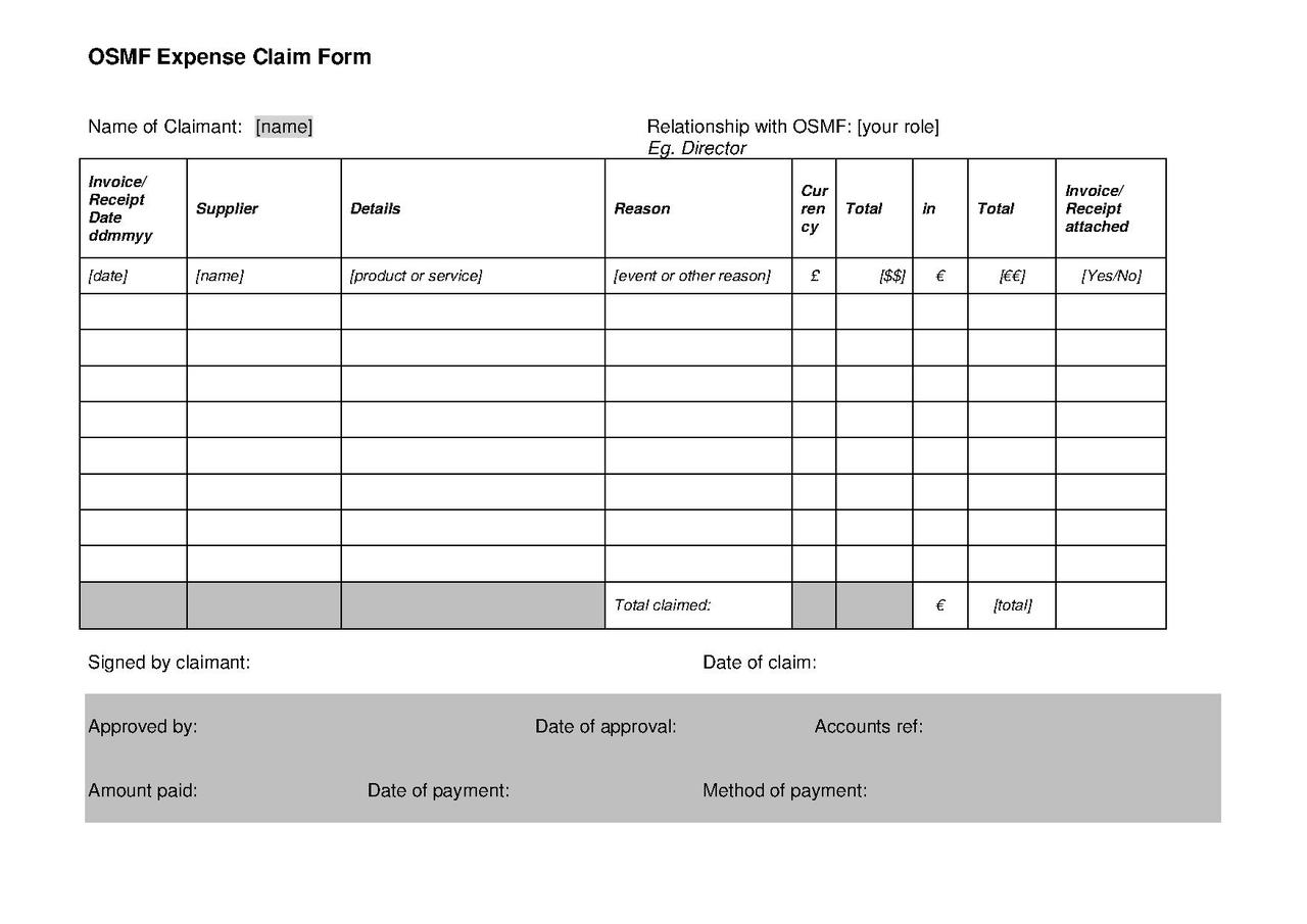 expense claim form template