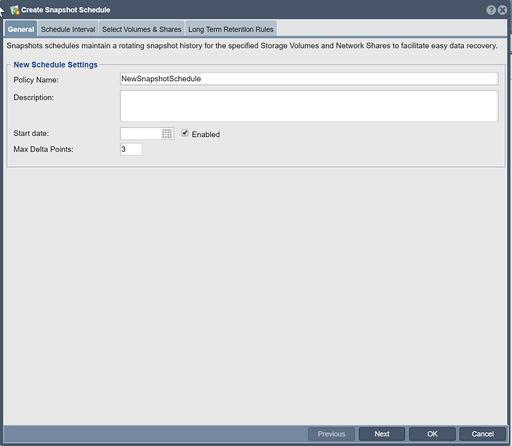 Snapshot Schedule Create - OSNEXUS Online Documentation Site