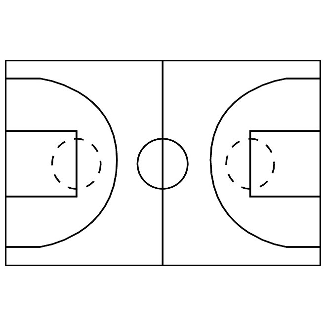 Basketball court image free vector freevectors clipart - WikiClipArt - black and white basketball template