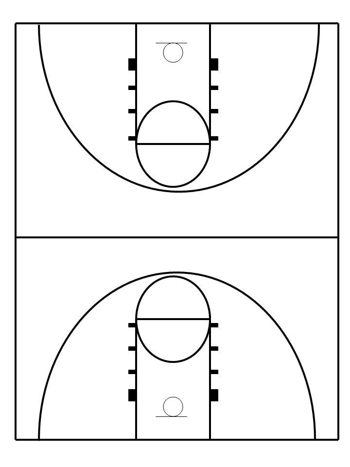 Clipart basketball court free clip art black and - WikiClipArt - black and white basketball template