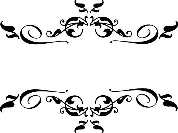 Black heart and bows corner borders black swirl border clip art