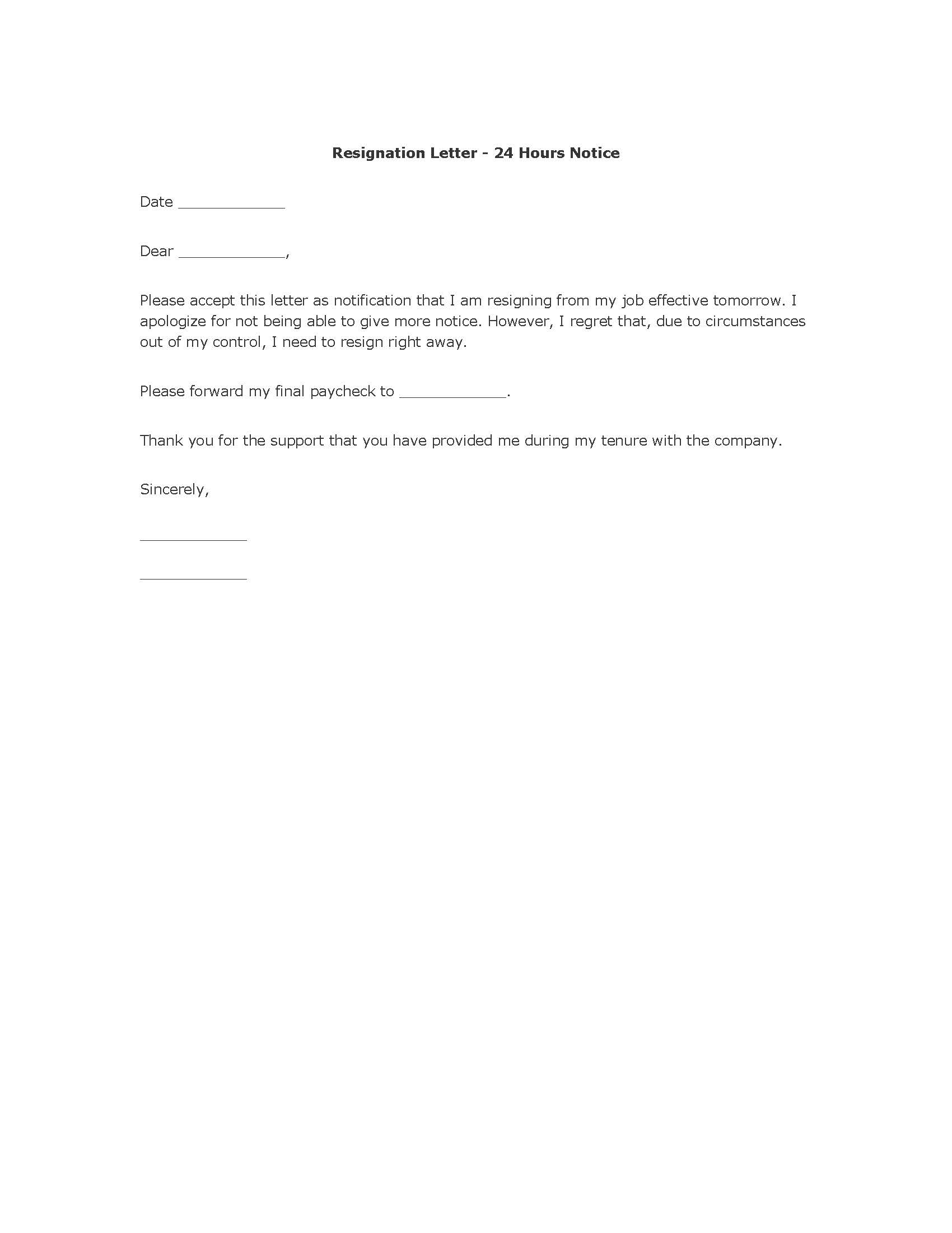 resignation letter notice hour cover letter examples and samples resignation letter notice 24 hour letter of resignation example 24 hours notice letter of resignation