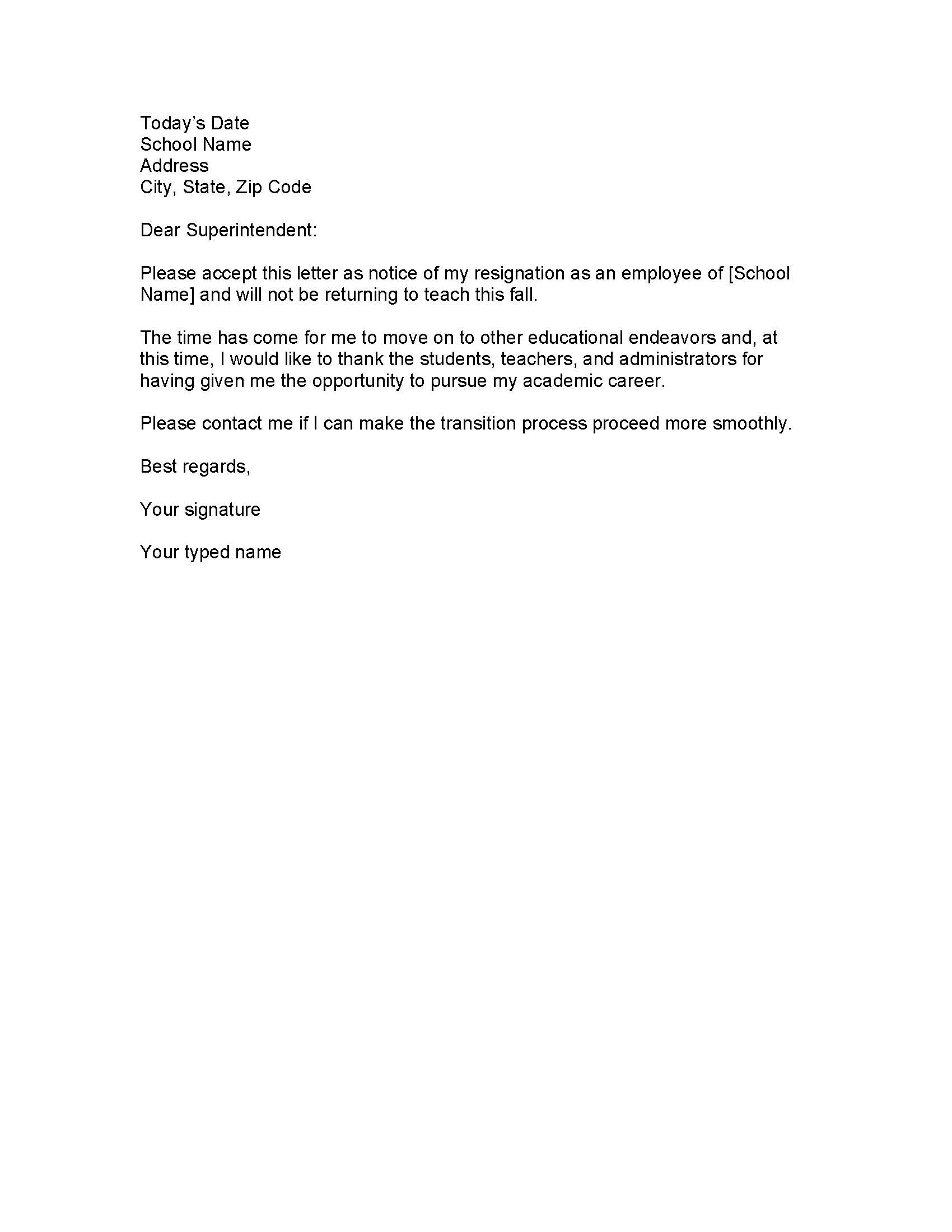 resigning letter example – Template for Resignation Letter Sample