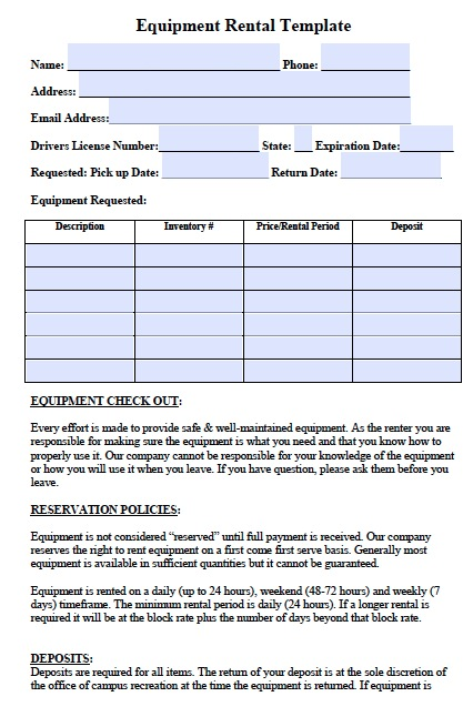 Blank Printable Equipment Lease Agreement  Memo Template Word