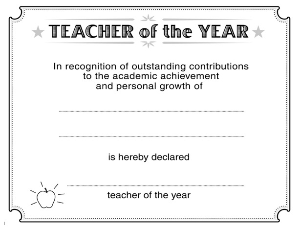Certificate Templates Teacher Of The Year | resume builder