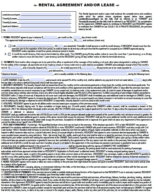 Download California Rental Lease Agreement Forms and Templates PDF - rental contract agreement